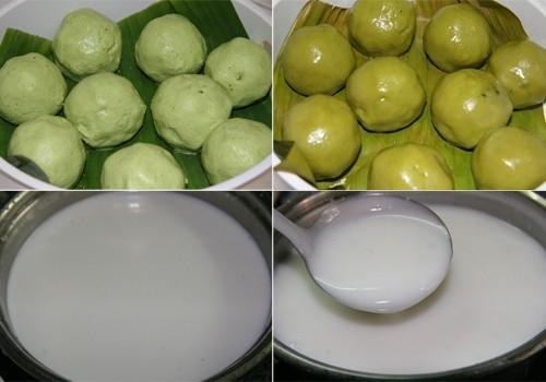Bánh nếp lá dứa nước cốt dừa