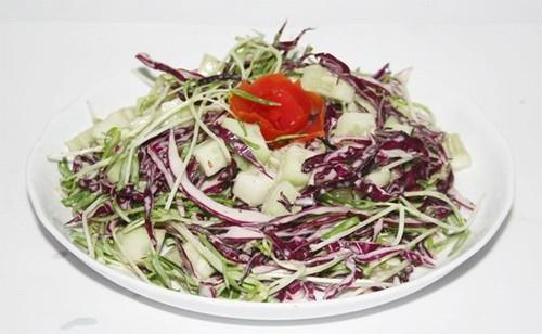 Salad rau mầm và bắp cải tím