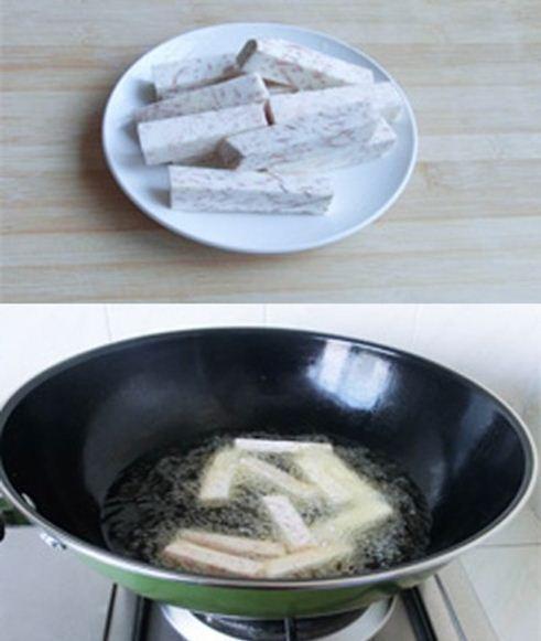 Thịt heo cuộn khoai môn